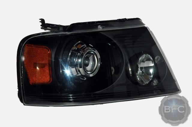 2005 Ford F150 HID Projector Headlight Conversion Black & Chrome | BlackFlameCustoms.com