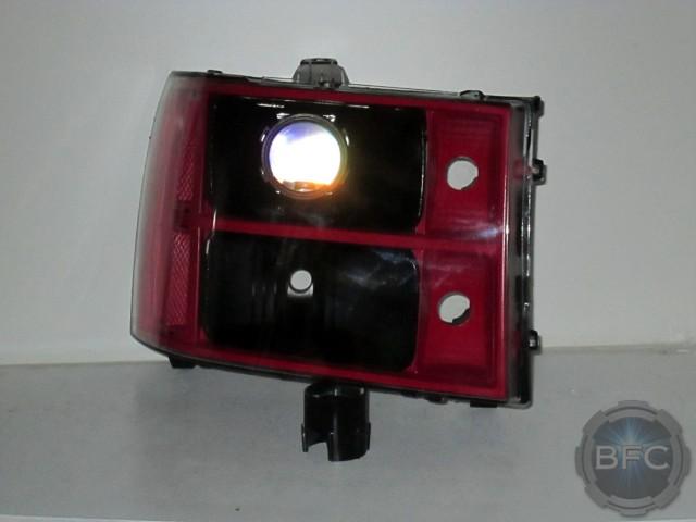 08 GMC Sierra Black Red Retrofit Headlights