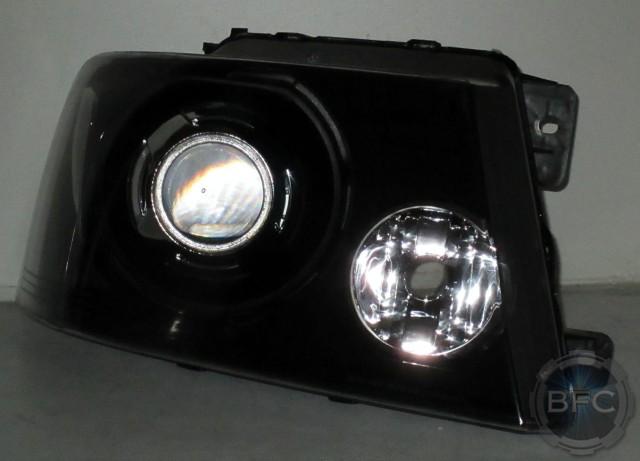 Hid Headlights Bulbs >> 2007 Ford F-150 Black HID Projector Conversion Headlights Clear | BlackFlameCustoms.com