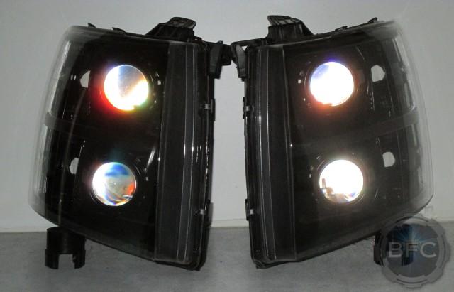 2013 Quad Black Silverado HID Headlamps