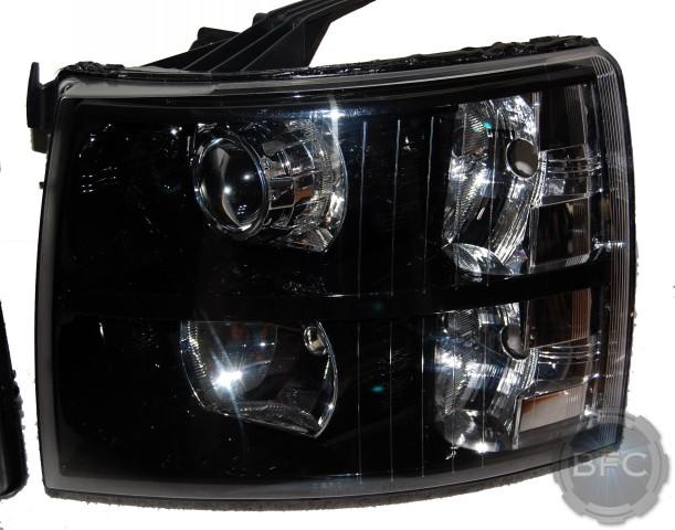2008 Chevy Silverado Black & Chrome HID Projector Retrofit ...