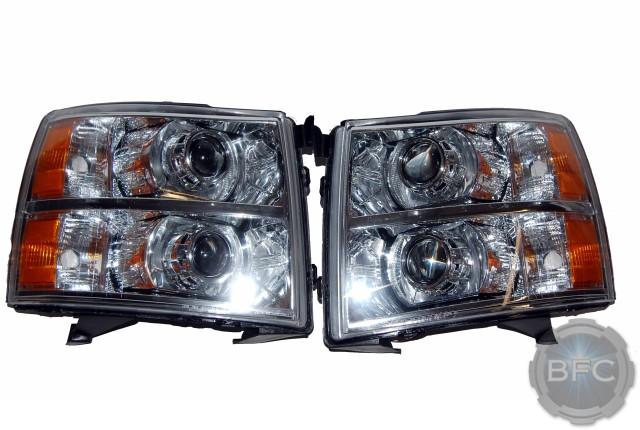 2013 Chevy Silverado Chrome HID Quad MH1 Headlights