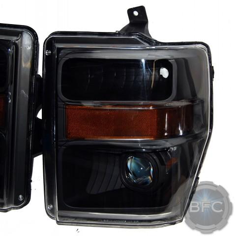 2010 Ford Super Duty Black HID Projector Custom Headlights