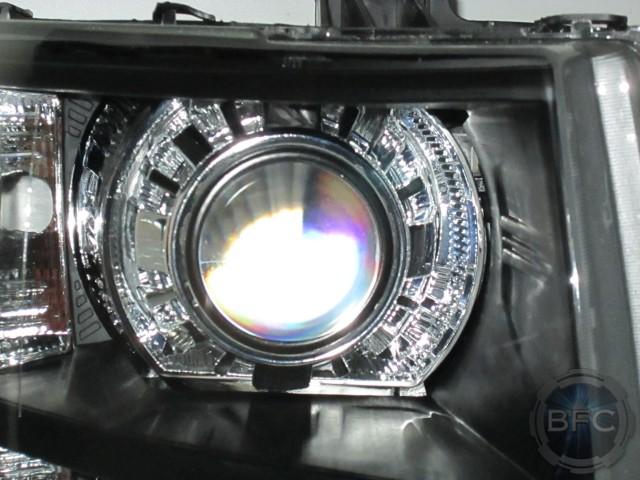 Chevy Silverado Chrome Black Quad HID Projector Headlights