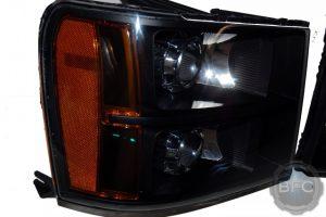 2012 GMC Sierra Quad Black & Chrome MH1 HID Projector Retrofit Headlights