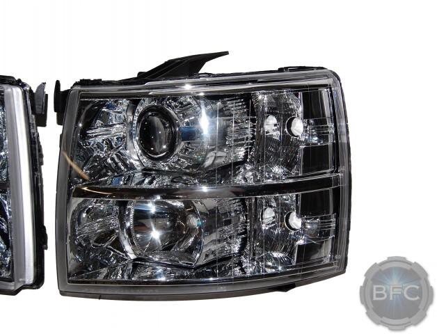2012 Chevy Silverado Gatling V2 Chrome HID Projector Headlights
