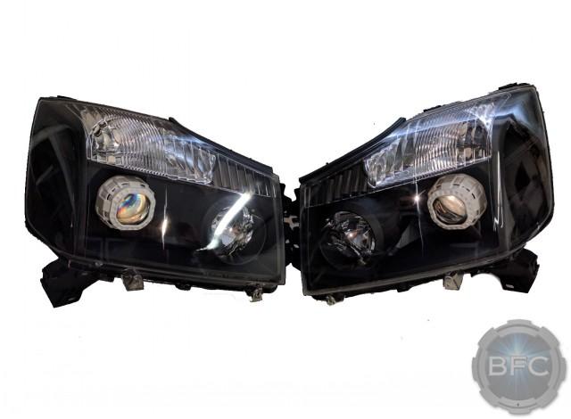 2014 Nissan Titan Black White Chrome HID Projector Headlights