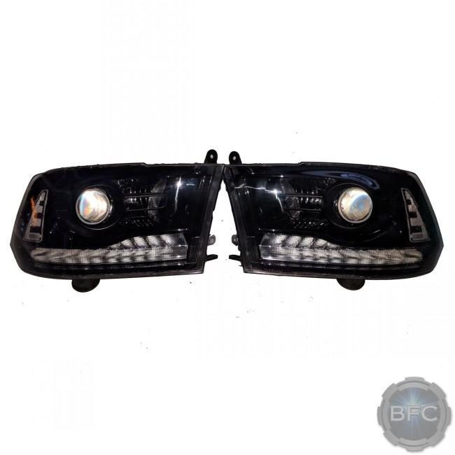 2014 Dodge Ram OEM Mopar Black Painted Custom HID Retrofit Headlights