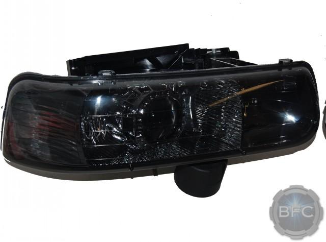 02 Chevy Silverado Black Smoke HID Projector Headlights