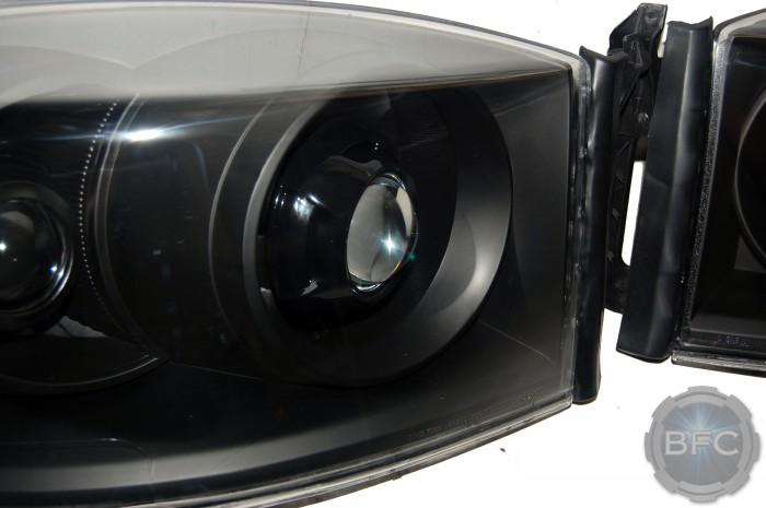 2008 Dodge Ram Quad All Black HID Projector Headlights