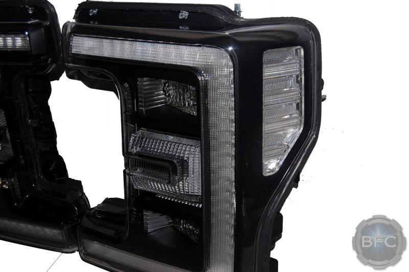 2017 Ford Super Duty LED Headlights Black Paint Clear Reflectors