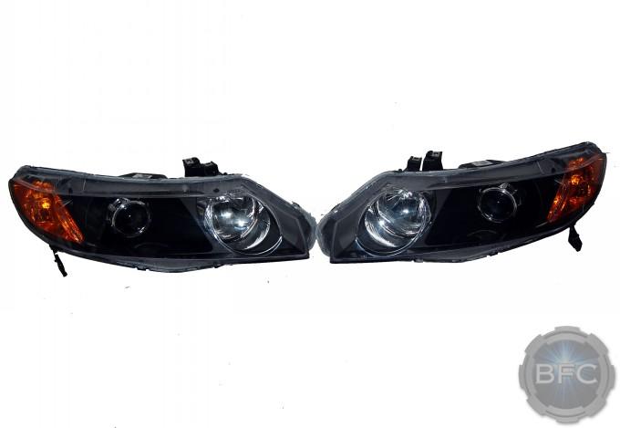 2009 Honda Civic Black Chrome MH1 HID Projector Headlights