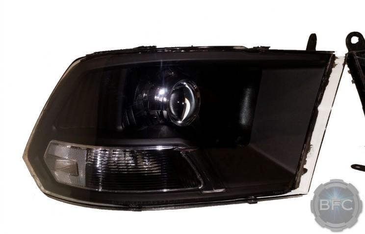 2018 Dodge Ram 3500 Mopar Non Quad HID Projector Retrofit Headlights Black & Chrome