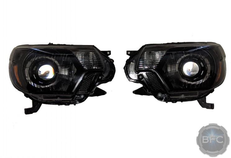 2012-2015 Toyota Tacoma Black Chrome Amber Custom Projector Headlights BLACKFLAMECUSTOMS