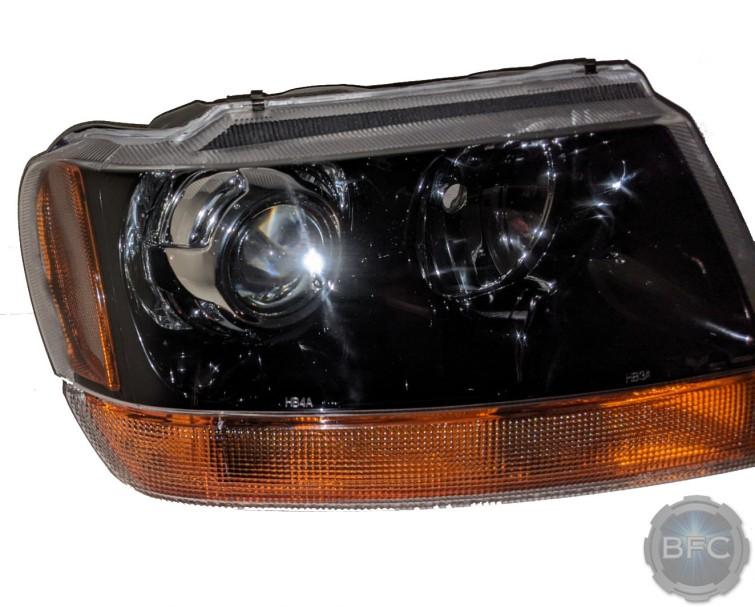 2001 Jeep Grand Cherokee HID Projector Custom Black Chrome Headlights