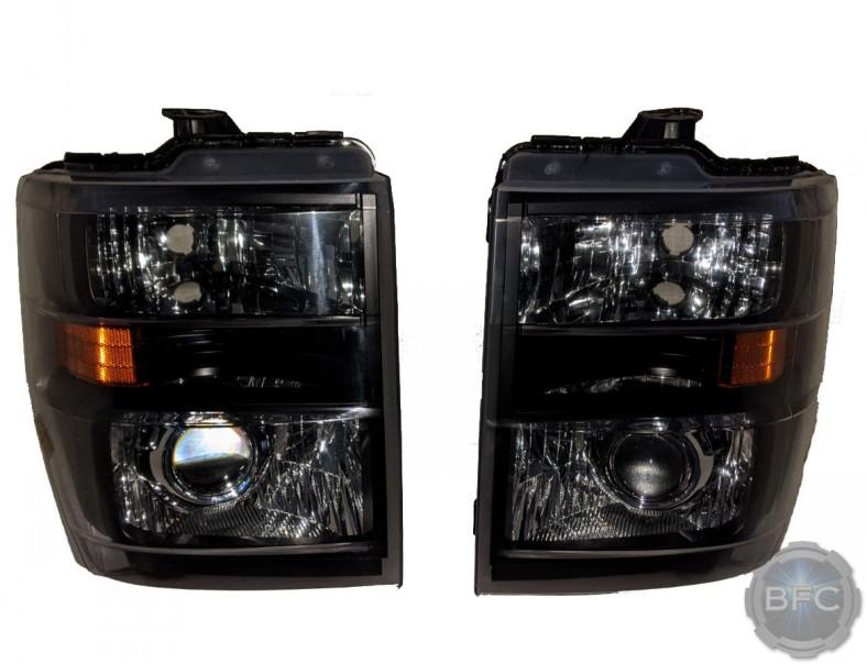2012 Ford E250 Van Custom Projector Black Chrome Headlights